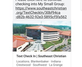 Text to Check In shared by Chuck Bump