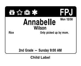 Check-in Parent and Child Labels shared by Erick Pece